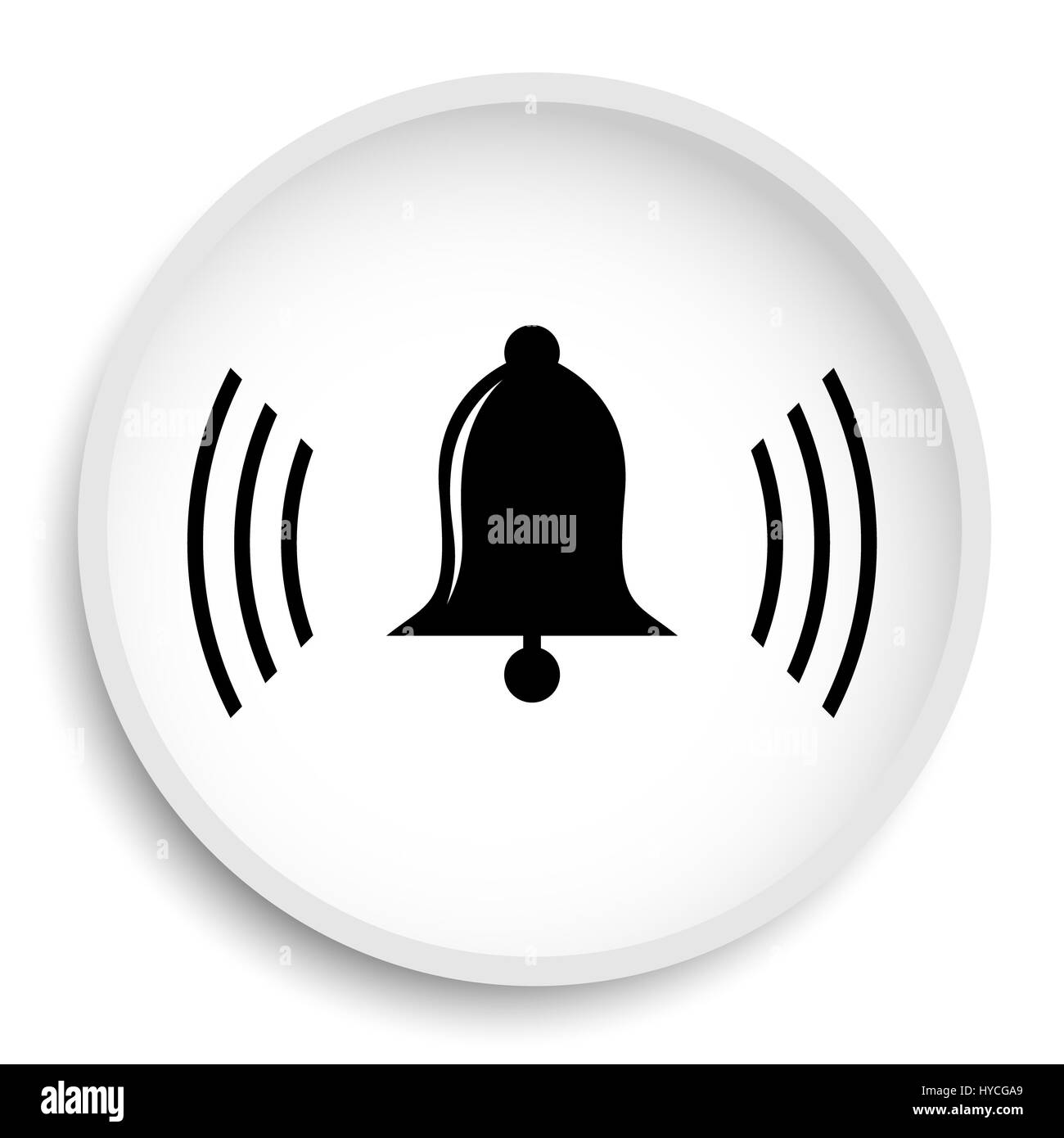 Bell icon. Bell website button on white background. - Stock Image