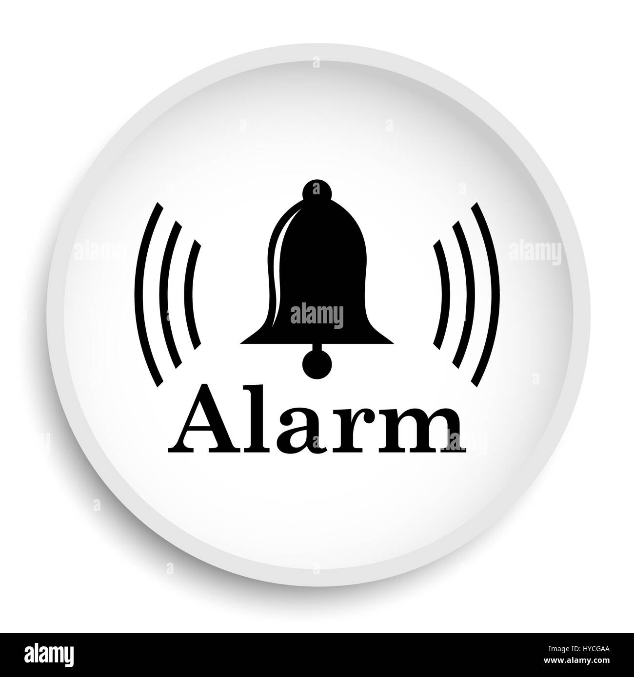 Alarm icon. Alarm website button on white background. - Stock Image
