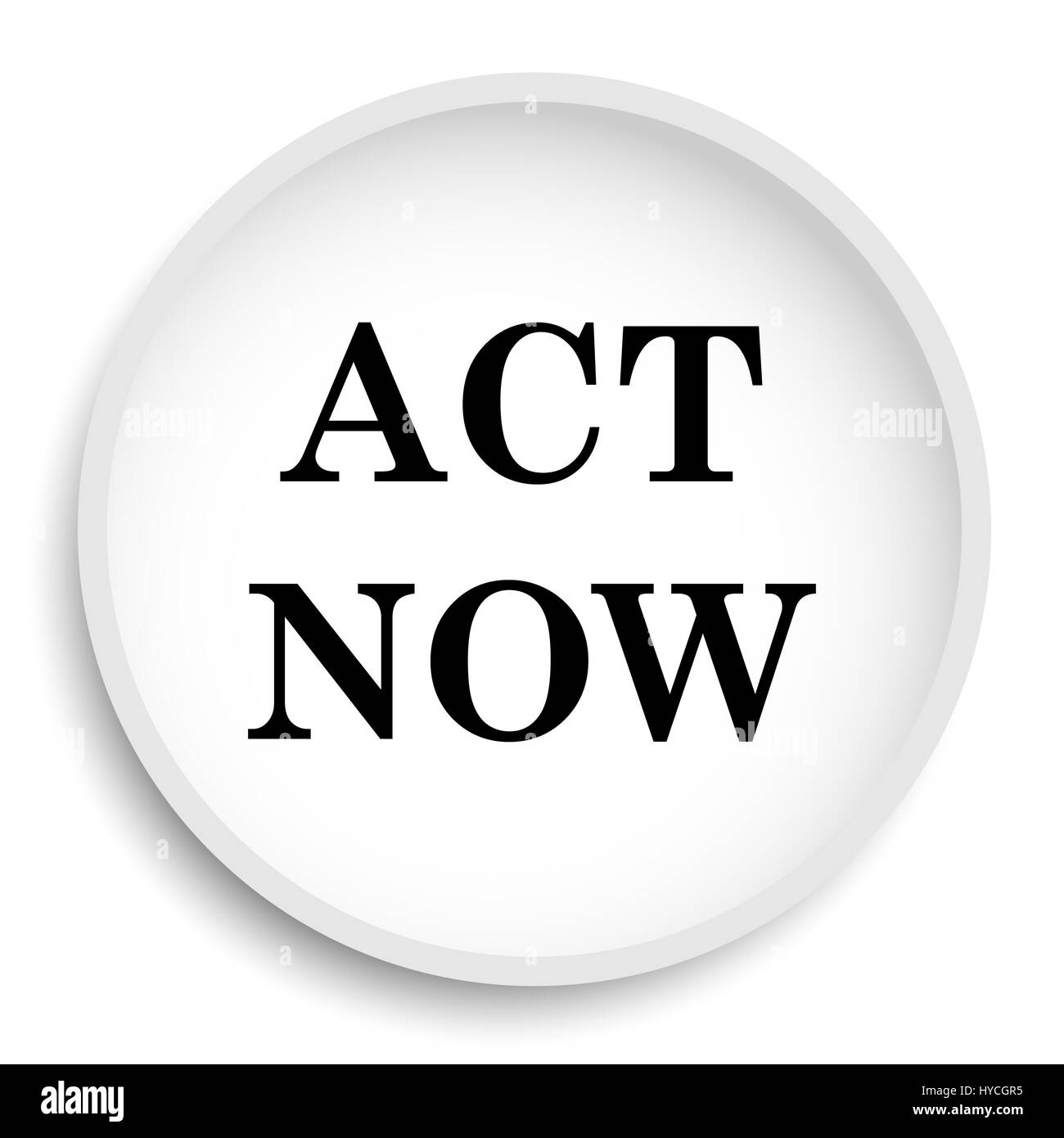act now icon act now website button on white background stock photo