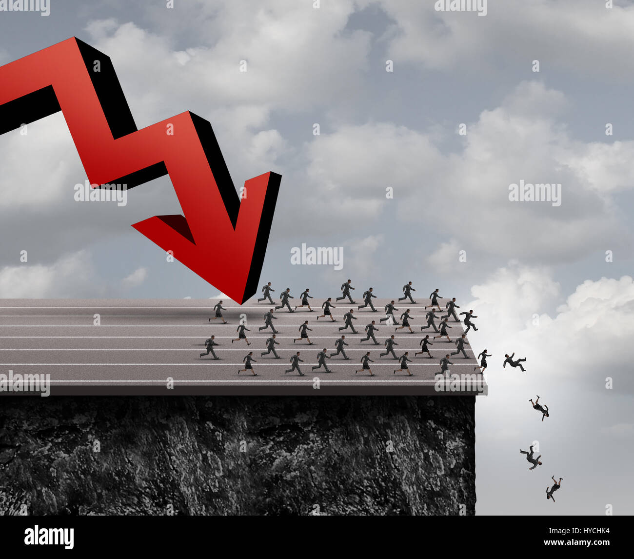 Business panic concept as a group of scared businessmen and businesswomen running over a cliff from a falling red - Stock Image