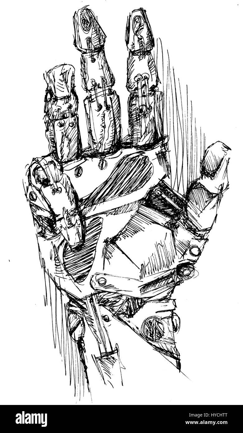 Robotic arm sketch drawing. - Stock Image