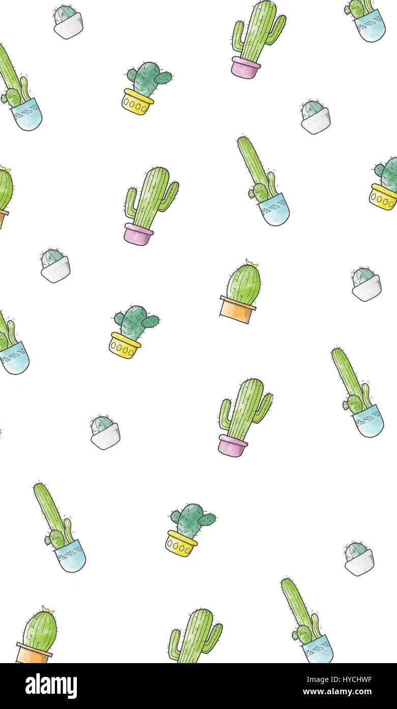 Cute cartoon cactus pattern. Cacti in pots. - Stock Image