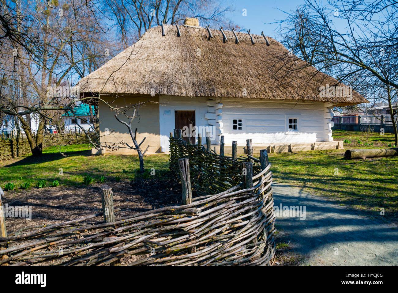 Authentic Ukrainian village house. - Stock Image