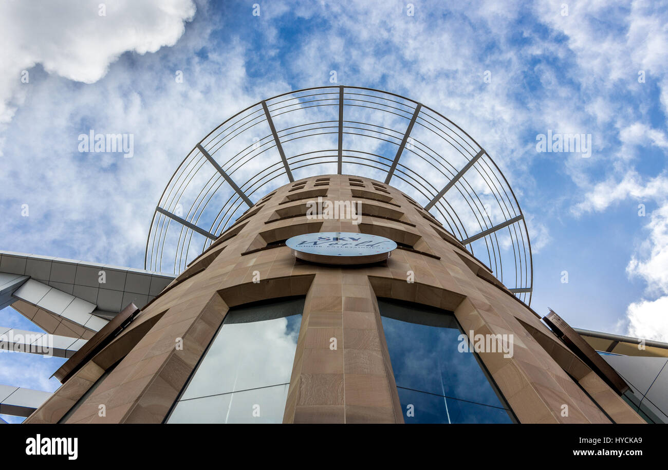 Auckland - February 17, 2017: The Sky World Indoor Entertainment Center view from below. - Stock Image