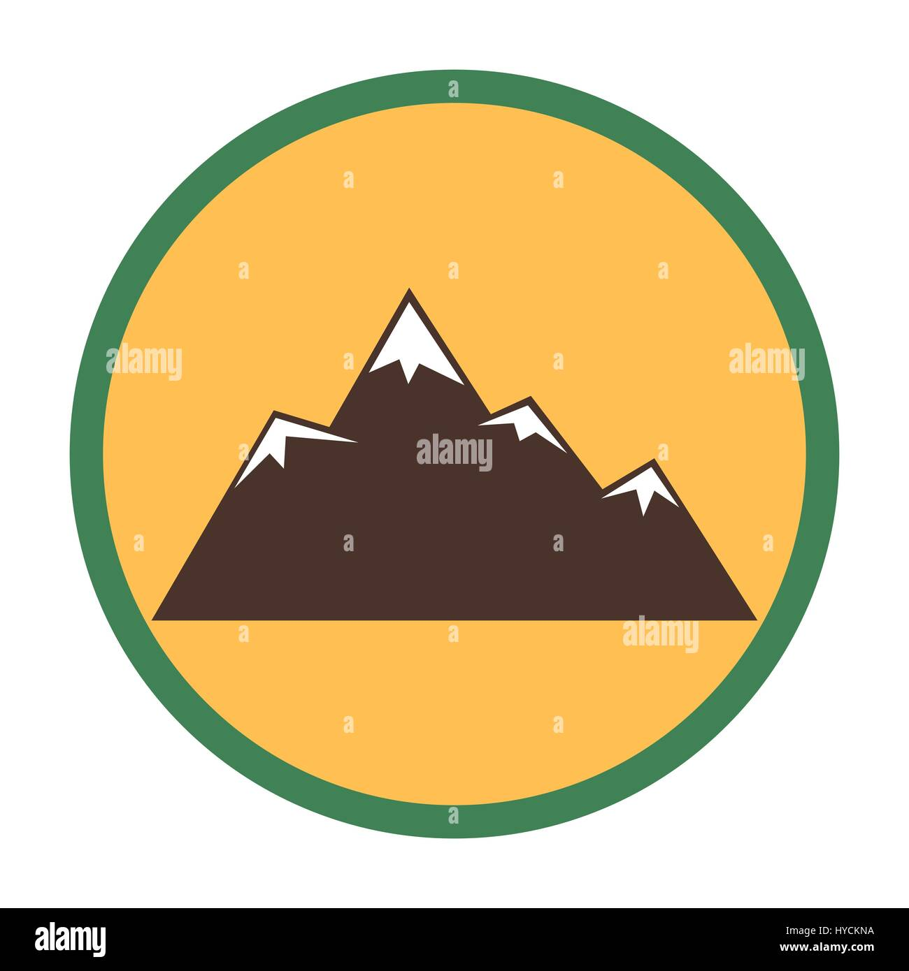 Mountain peaks with snow flat vector icon for outdoor apps and websites - Stock Image