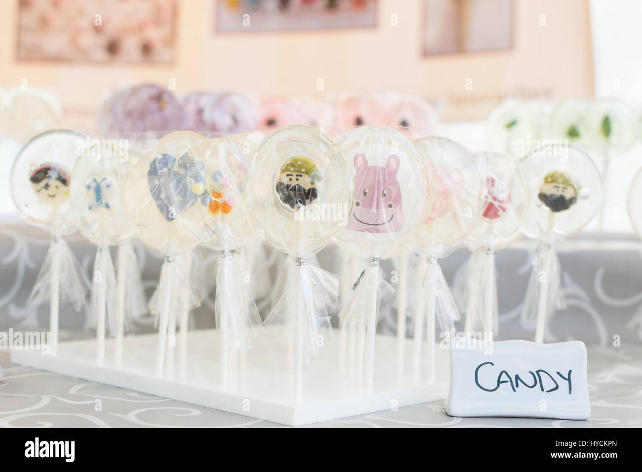 handmade lollipops invisible pops - Stock Image