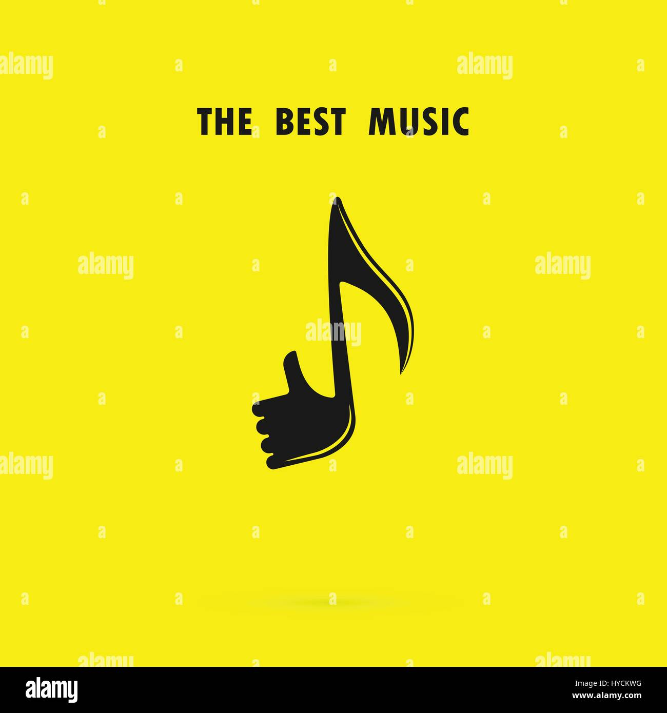 Human hand icon with Musical note vector logo design template.The ...