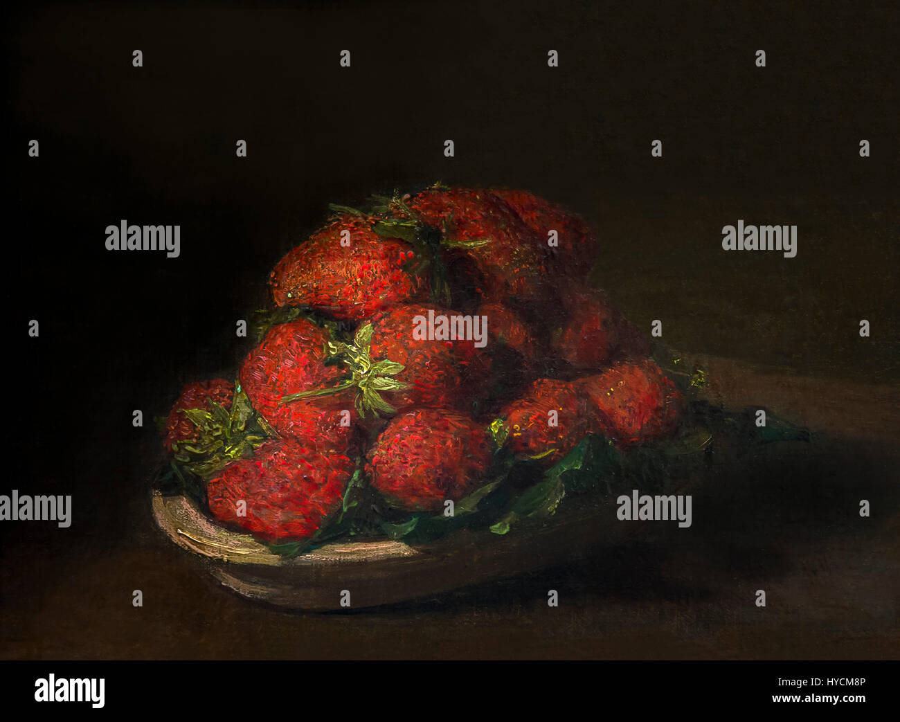 Strawberries on a small earthenware plate, by Henri Fantin-Latour, 1872,Boijmans van Beuningen Museum, Rotterdam, - Stock Image