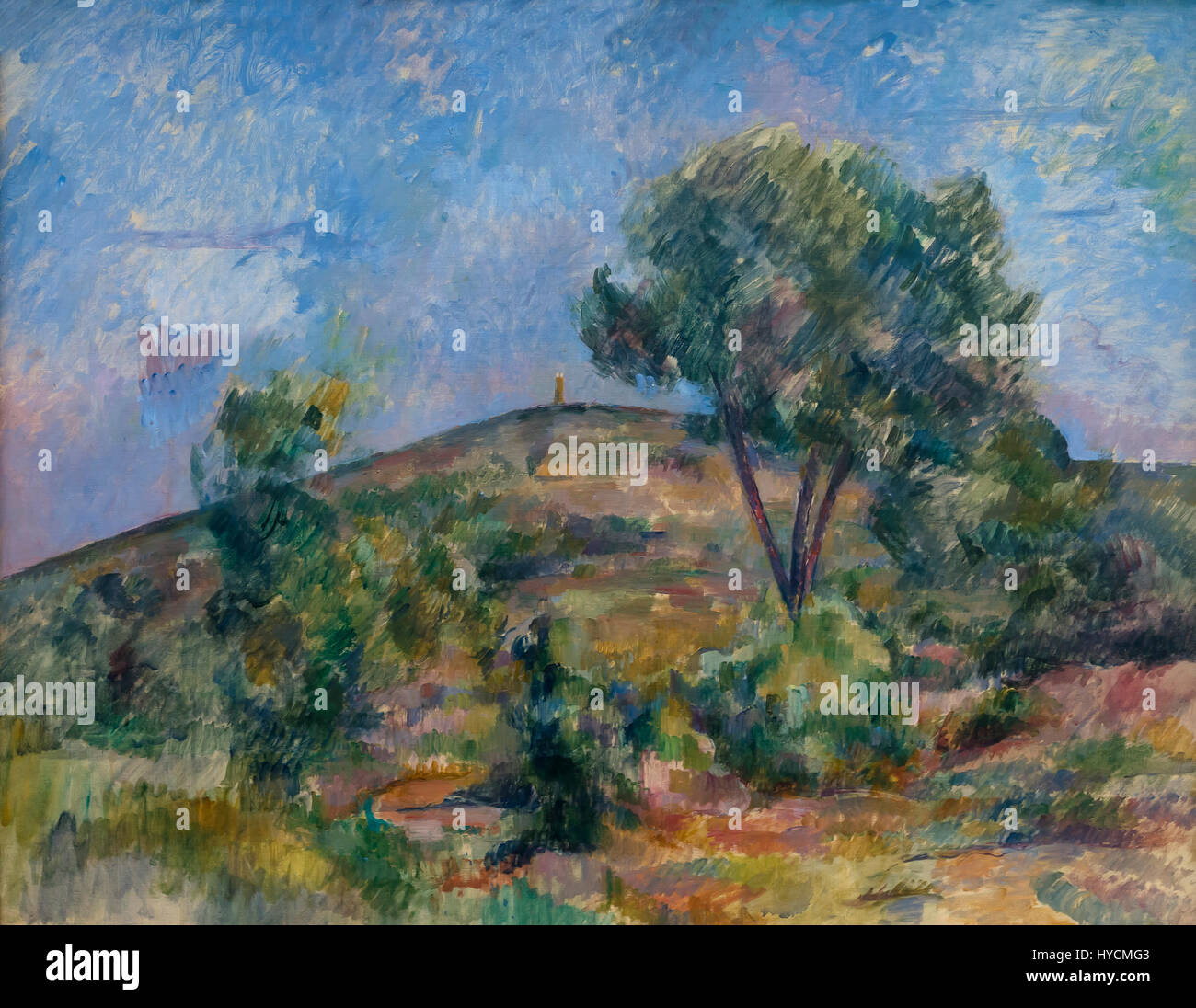 Landscape near Aix with the Tour de Cesar, by Paul Cezanne, 1895, Boijmans van Beuningen Museum, Rotterdam, Netherlands, - Stock Image