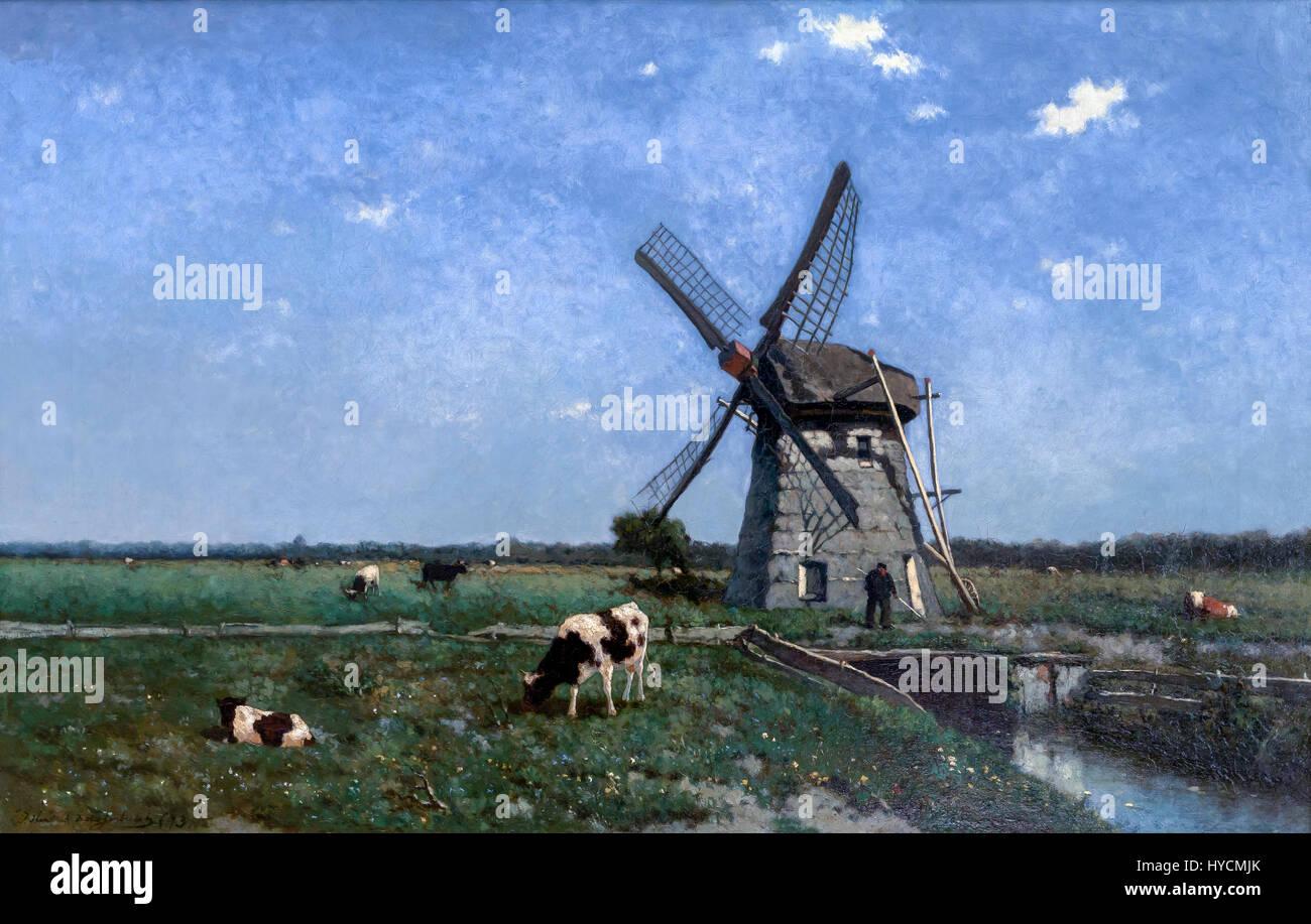 Landscape with Windmill near Schiedam, by Johannes Hendrik Weissenbruch, 1873, Boijmans van Beuningen Museum, Rotterdam, Stock Photo