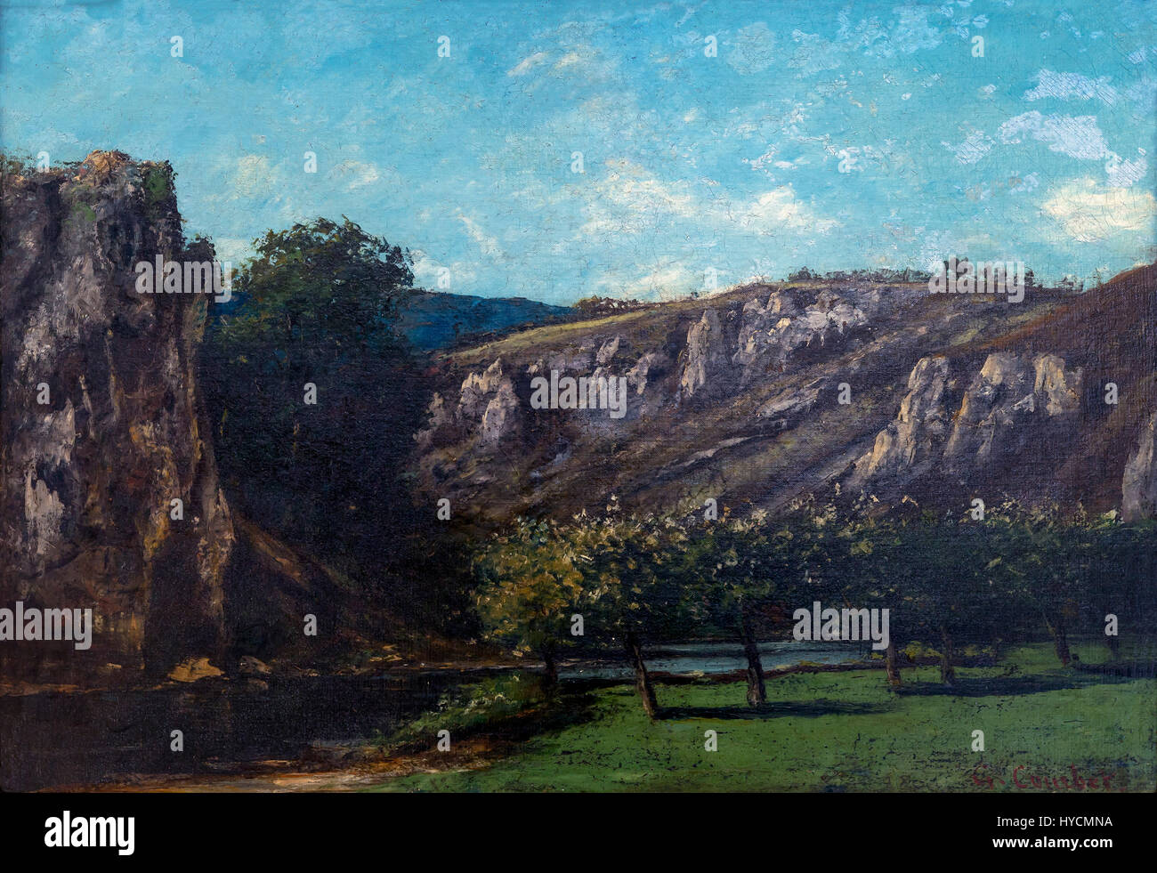 Mountainous Landscape with Fruit Trees in Ornans, by Gustave Courbet, 1873, Boijmans van Beuningen Museum, Rotterdam, - Stock Image