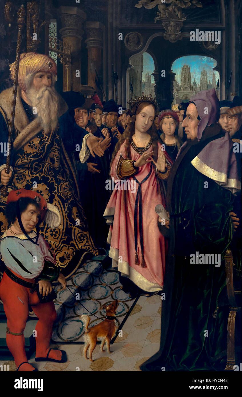 The Dispute of Saint Catherine of Alexandria, by Jan Provoost, 1520-1525, Boijmans van Beuningen Museum, Rotterdam, - Stock Image