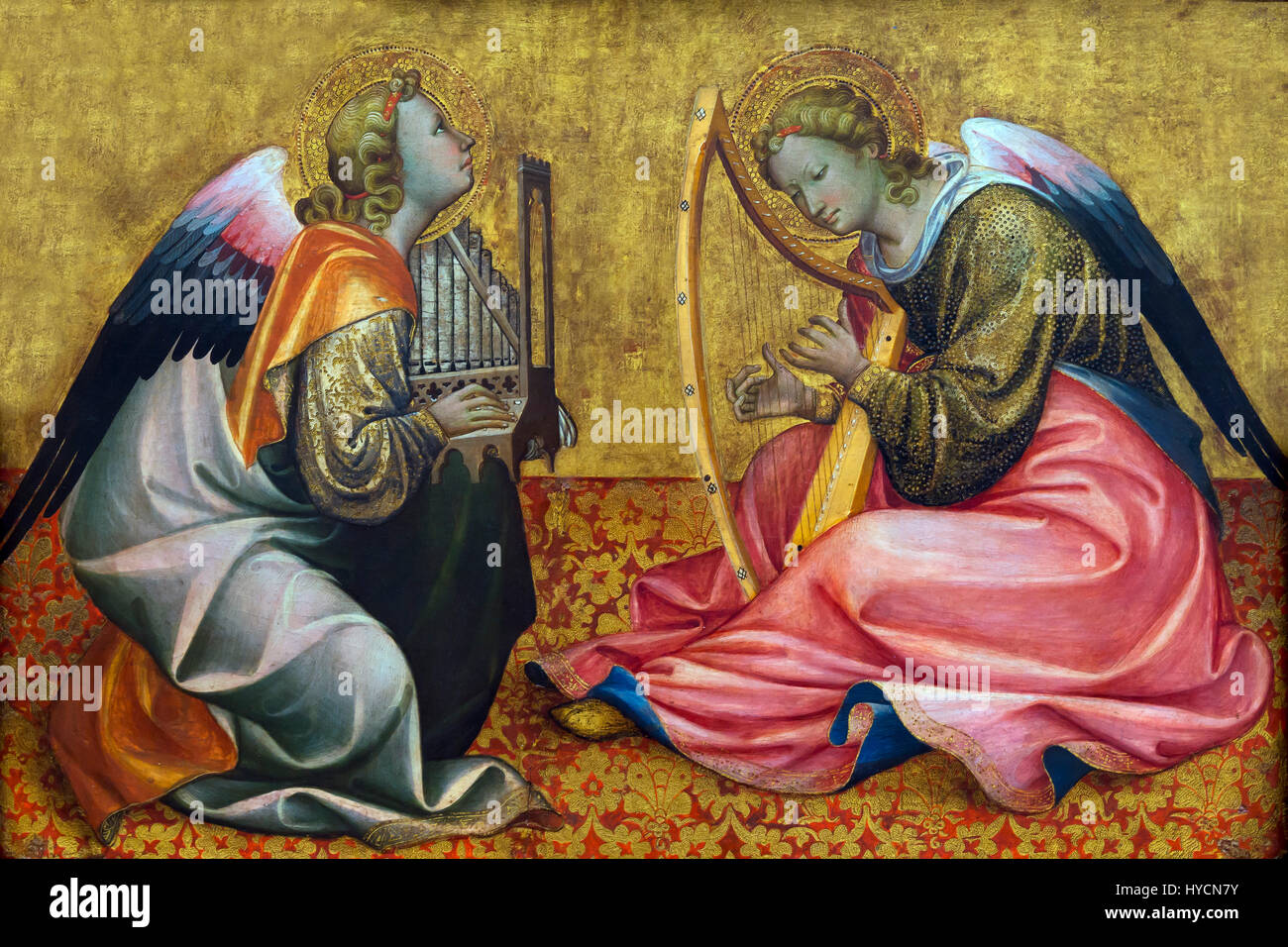Two Seated Angels Making Music, by Gherardo Starnina, 1400-1410, Boijmans van Beuningen Museum, Rotterdam, Netherlands, - Stock Image