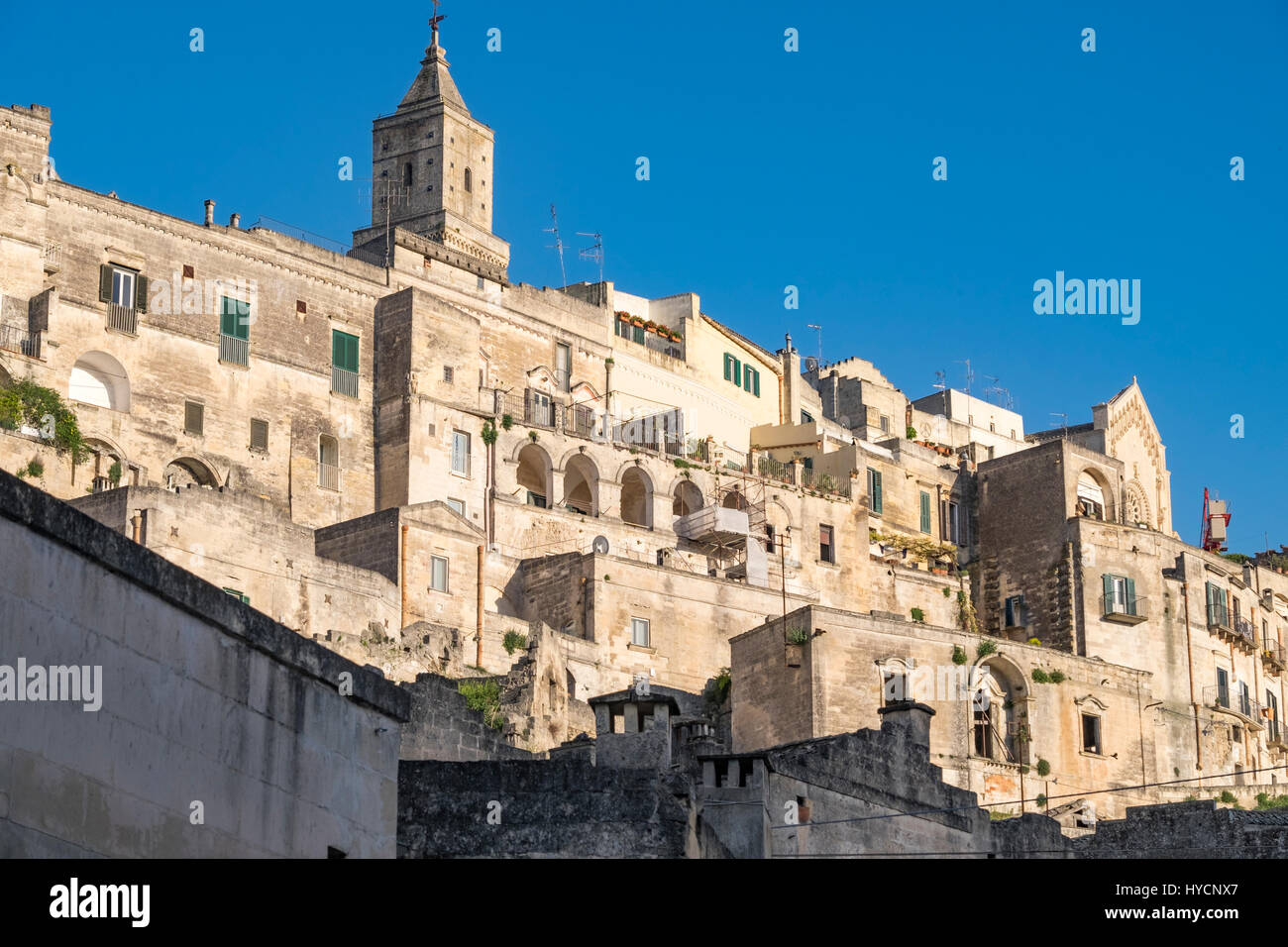 Cityscape of Matera, Italy, at sunset. World Heritage Site and European Capital of Culture for 2019 - Stock Image