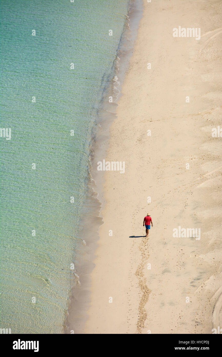 Man Walking On The Beach At Playa Tecolote Near La Paz Baja Stock