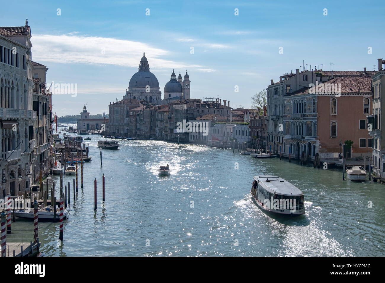 Morning view of the Grand Canal of Venice from the Academia Bridge - Stock Image
