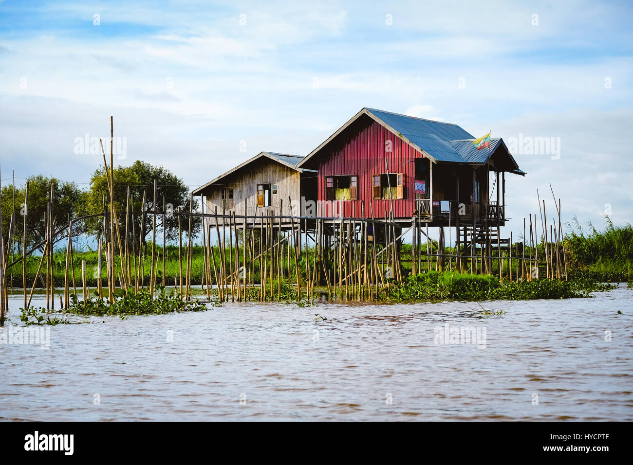 Landscape view of traditional wooden houses on Inle lake, Myanmar (Burma) - Stock Image