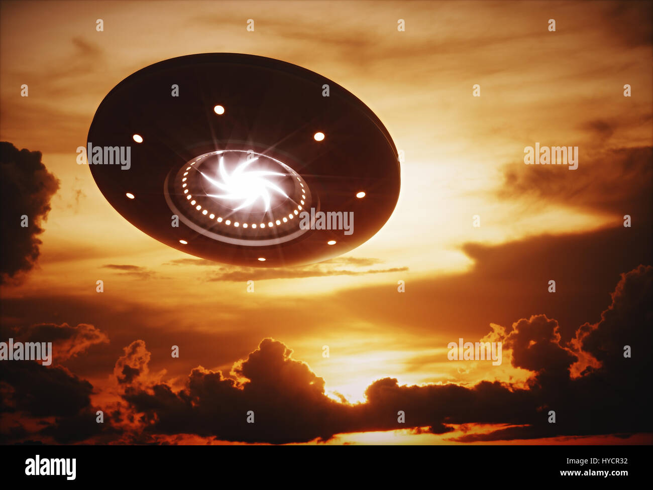 3D illustration with photography. Alien spaceship under the sunset. Stock Photo