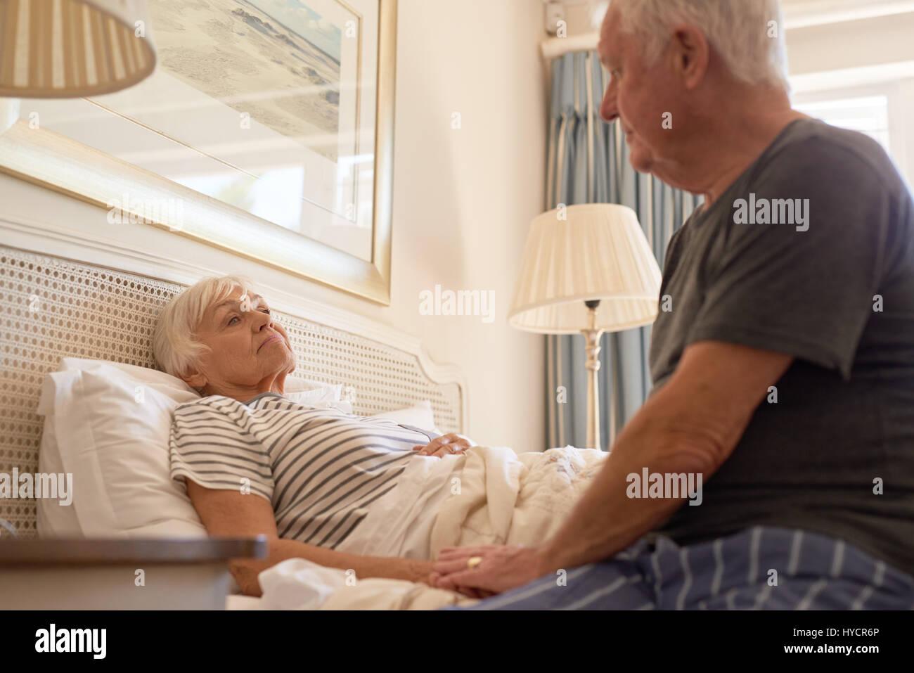 Loving Husband Caring Sick Wife Stock Photos & Loving