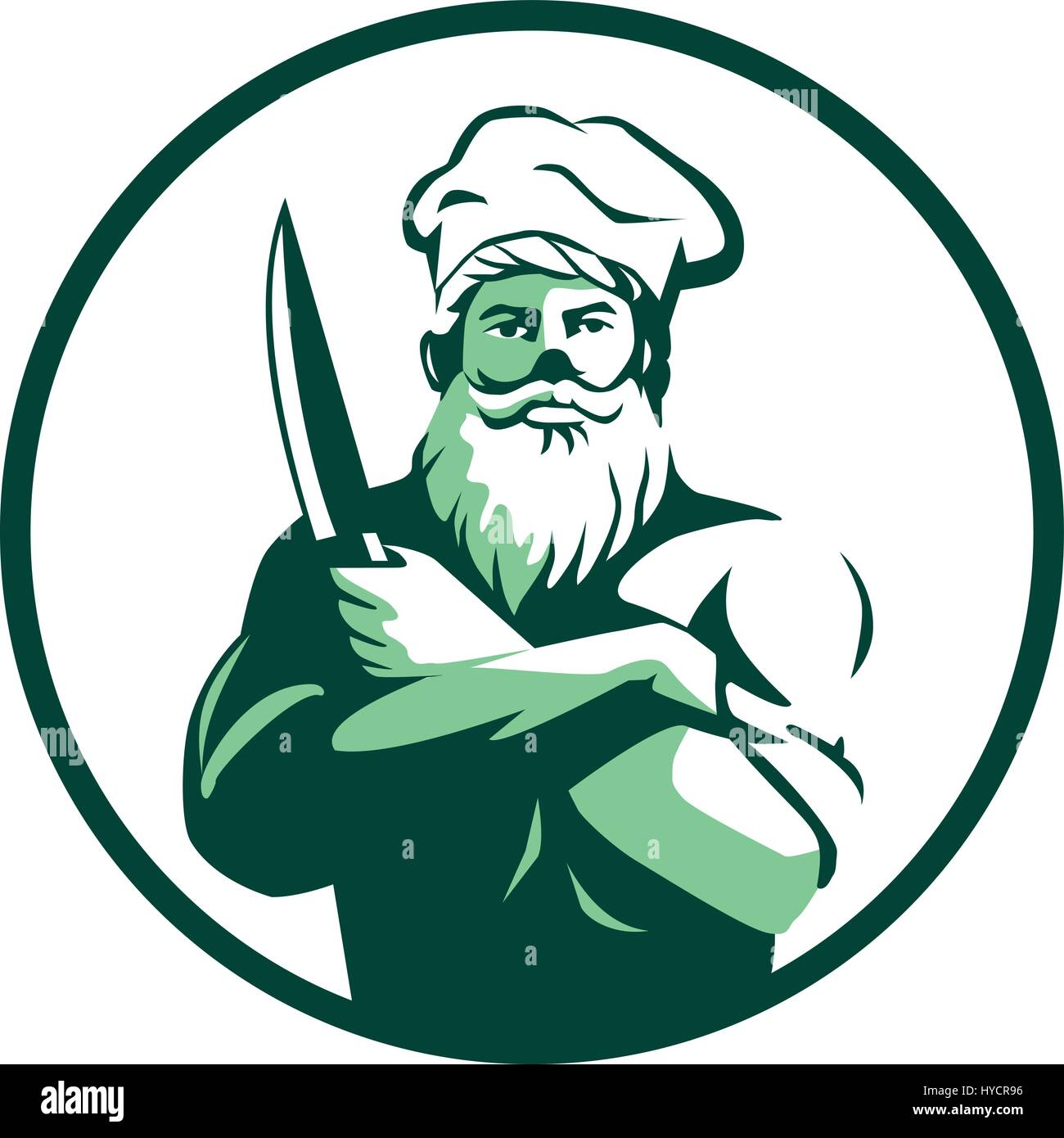 80fae41f Illustration of a chef cook with beard wearing chef's hat arms Stock ...