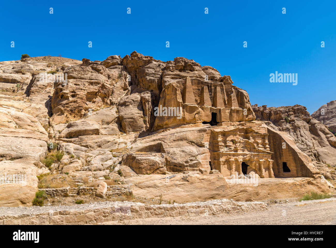Obelisk Tomb and the Triclinium at Petra - Stock Image