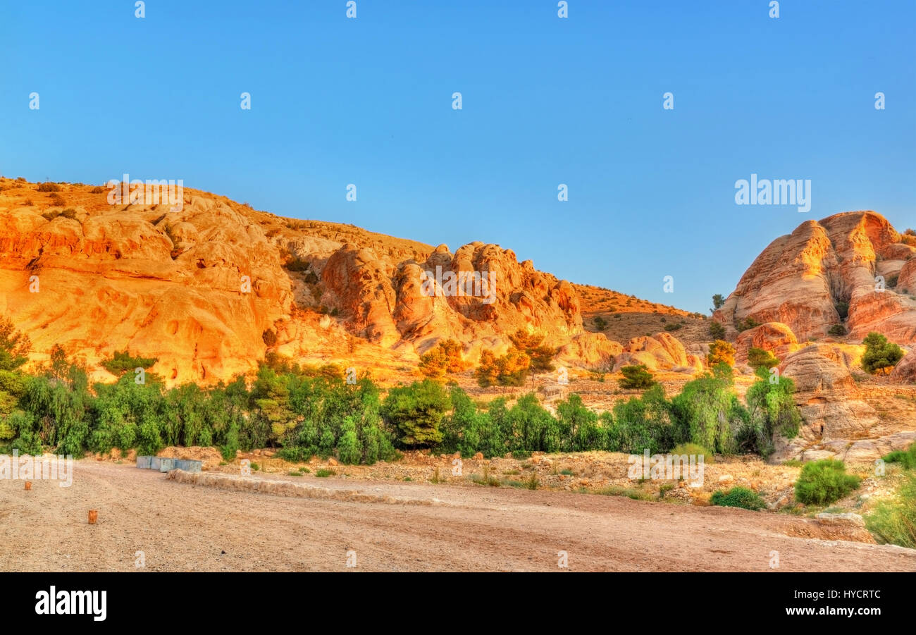 View of sandstone rocks at Petra - Stock Image