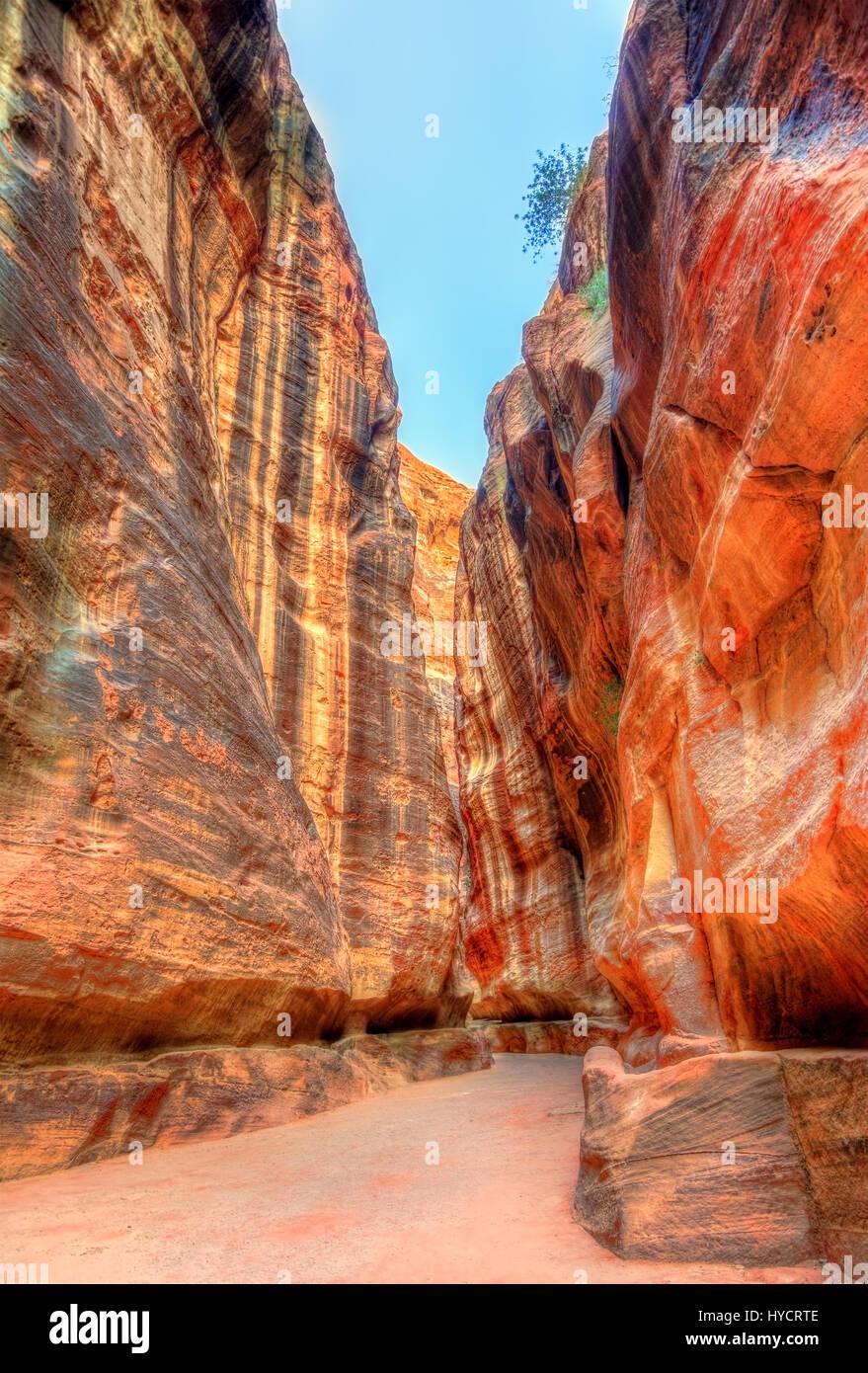 Road inside the Siq Canyon at Petra - Stock Image