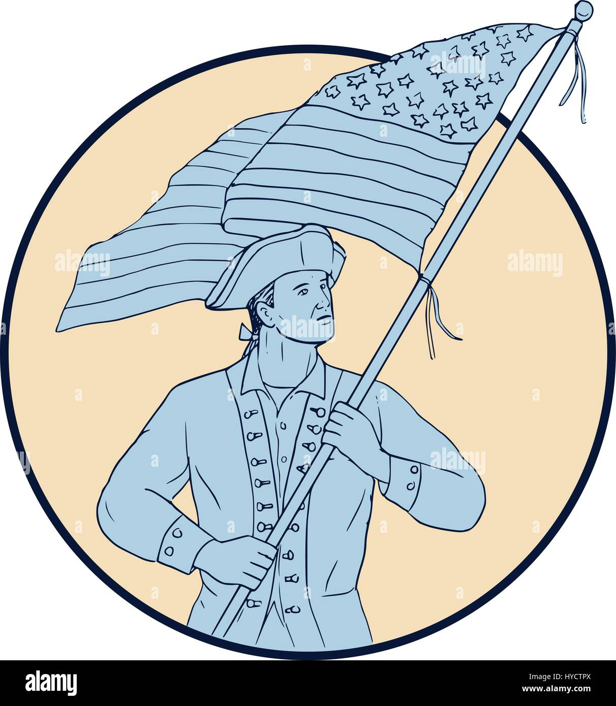 Drawing Sketch Style Illustration Of An American Patriot Carrying
