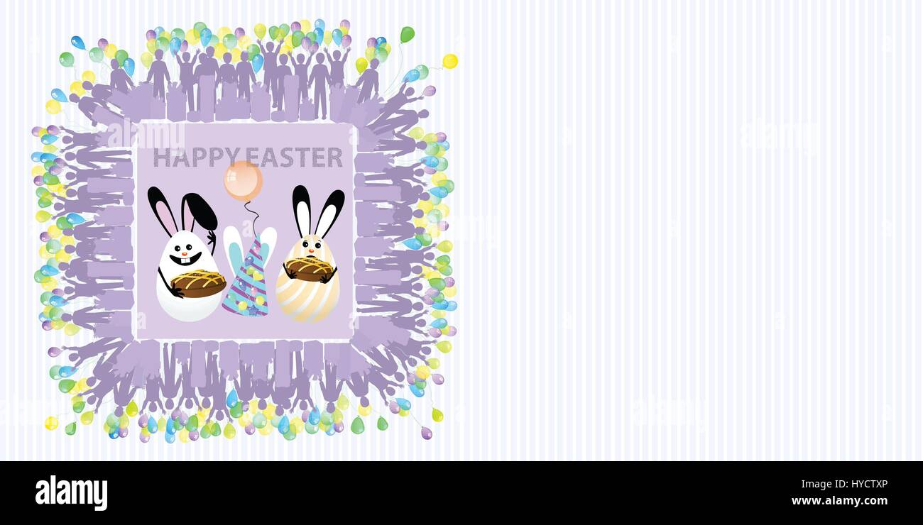 ded6b4abf241 Easter illustration with place for text. Eggs with a balloon of air and  chocolate cupcakes against a striped horizontally oriented leaf and a  square f