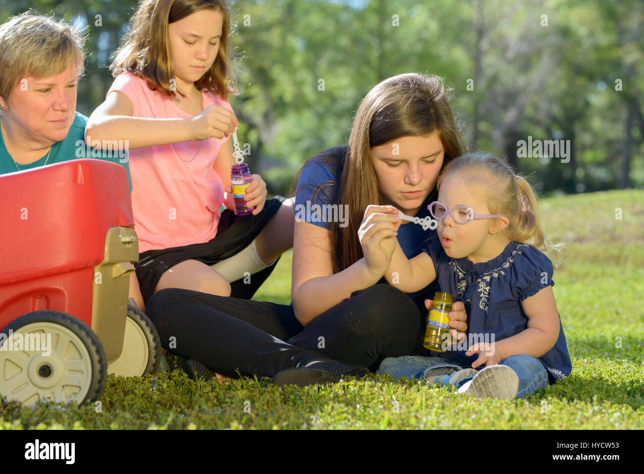 Mother and Daughters/Down Syndrome - Stock Image