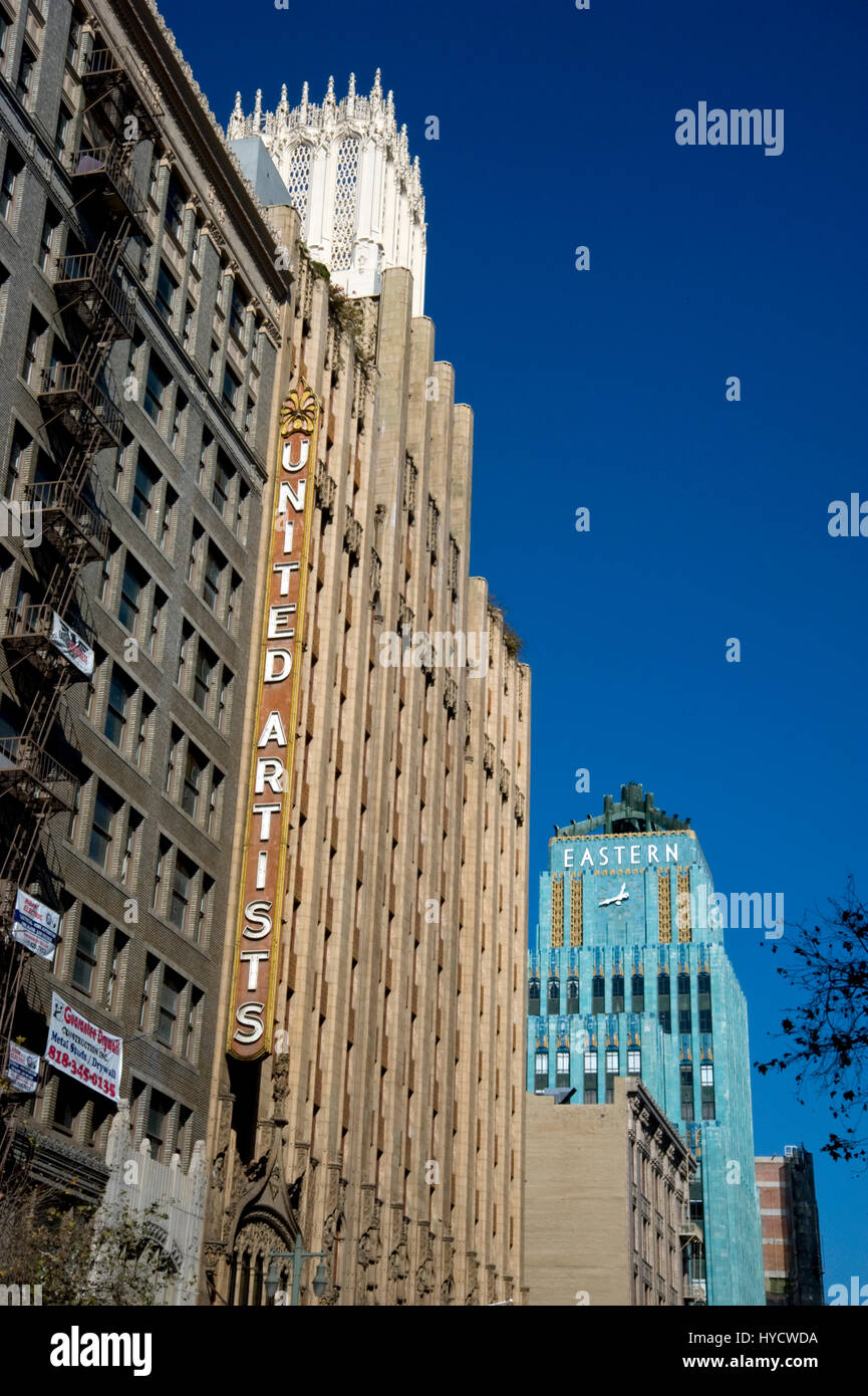 Buildings on Broadway in Downtown Los Angeles including The Ace Hotel formerly United Artists and the turquoise - Stock Image