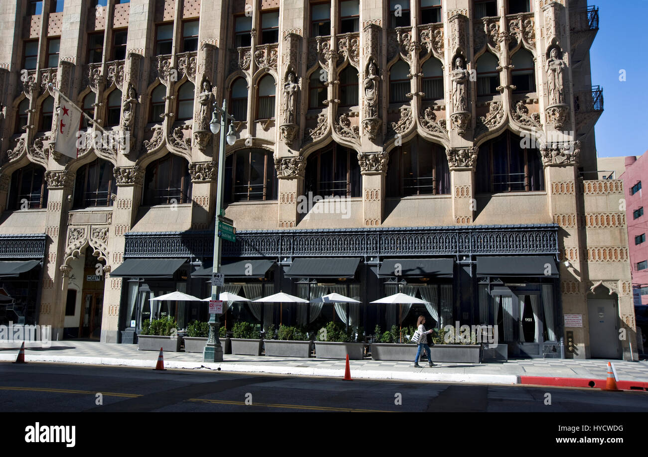 Front extrior view of the Ace Hotel on Broadway in Downtwon Los Angeles, California - Stock Image