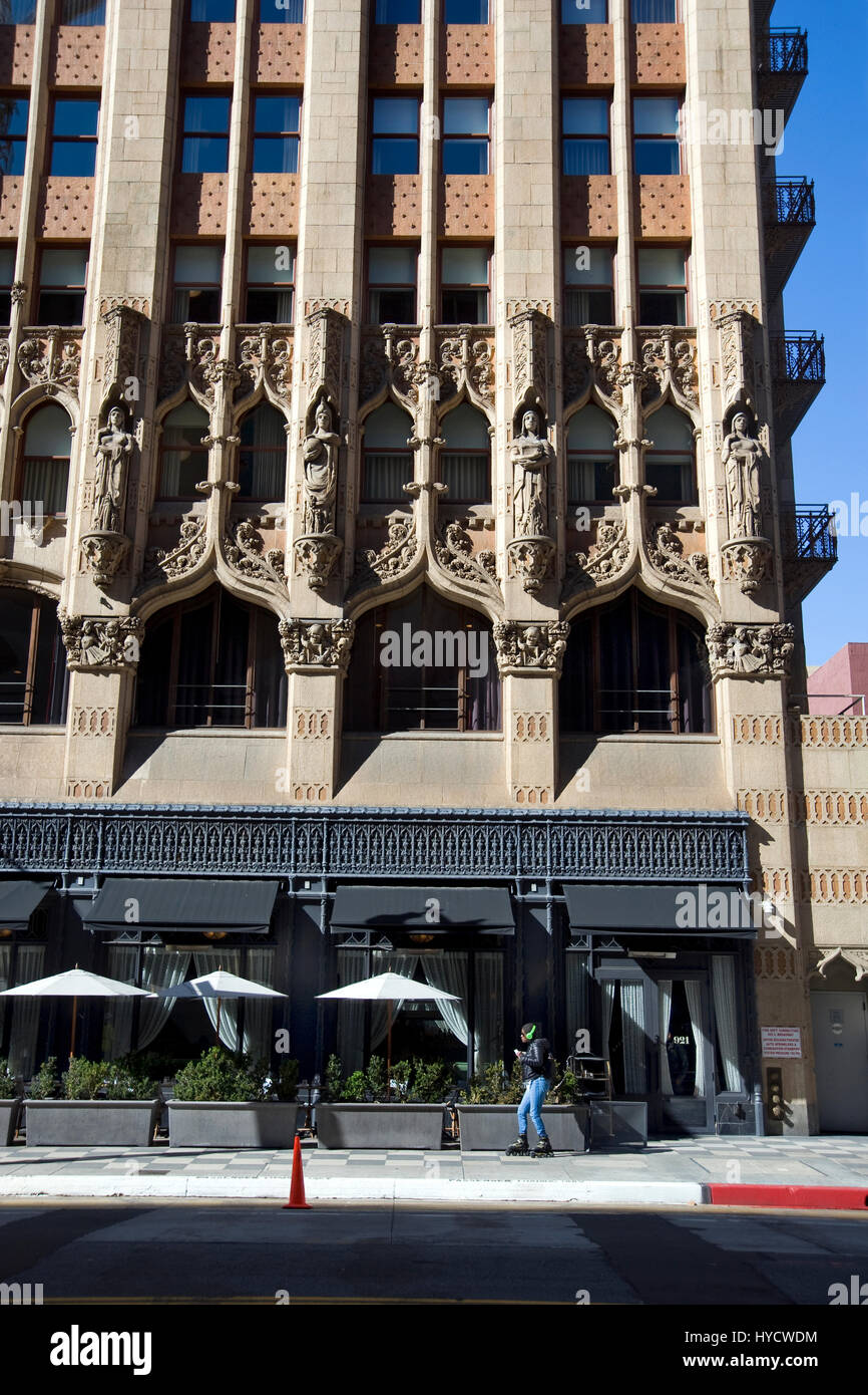 Front exterior view of the Ace Hotel on Broadway in Downtown Los Angeles, California - Stock Image