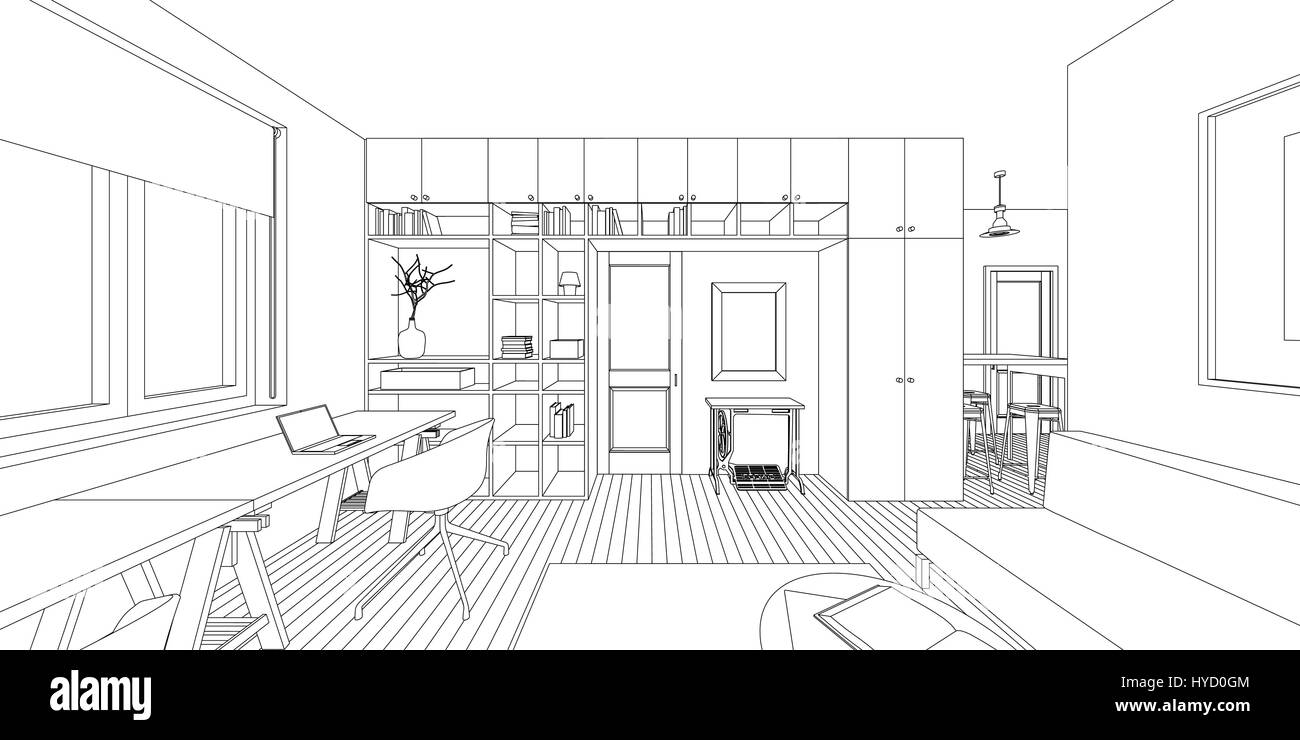 Lovely Outline Sketch Of A Interior Living Room.
