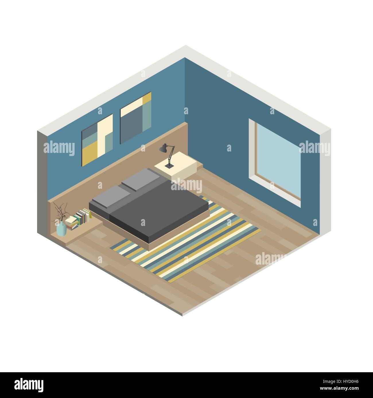 3d Floor Plan Isometric: Illustration Of The Interior Of Bedroom. Isometric View