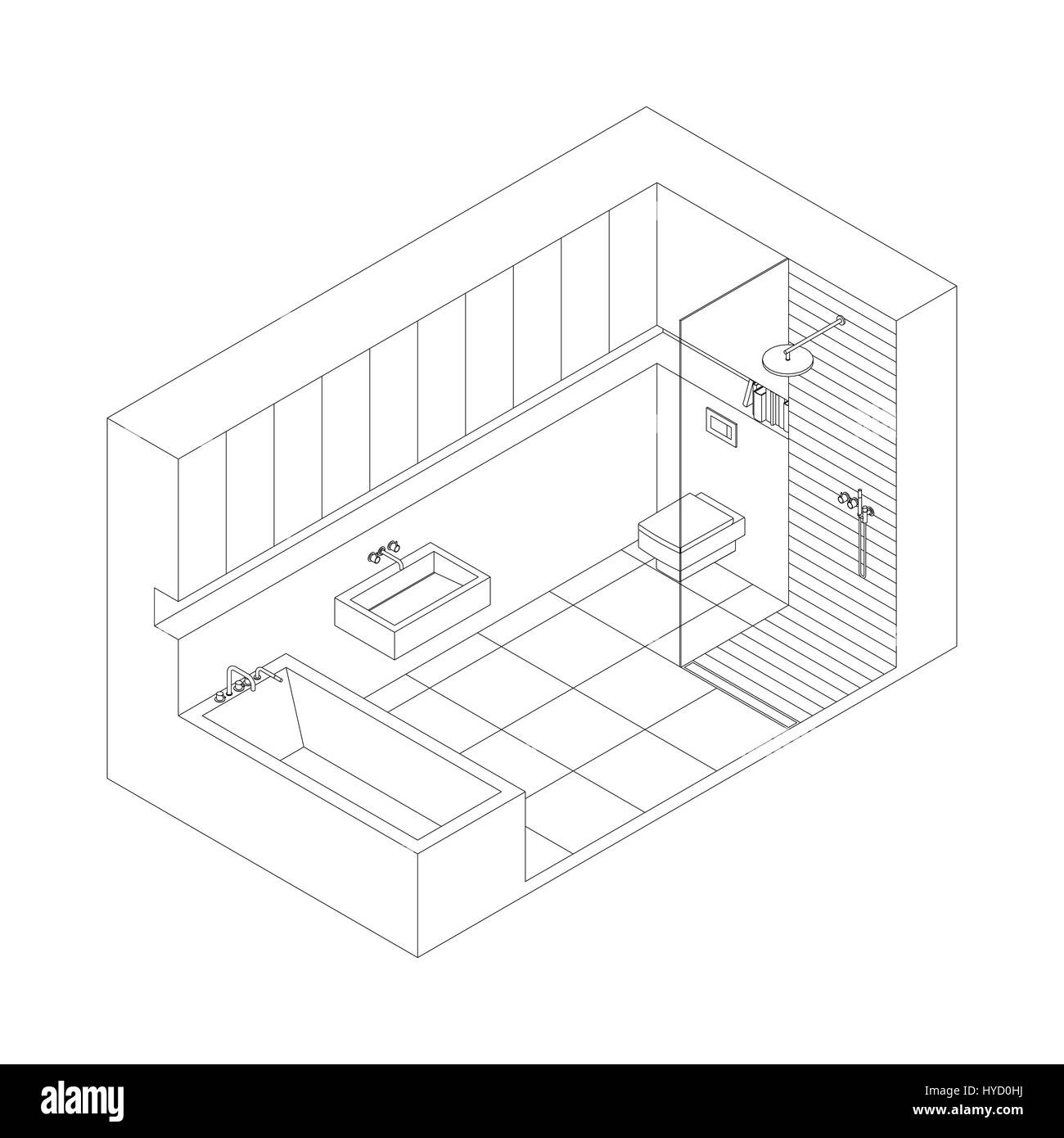 Line Drawing Of The Interior Of Bathroom Isometric View Stock - Drawing of bathroom