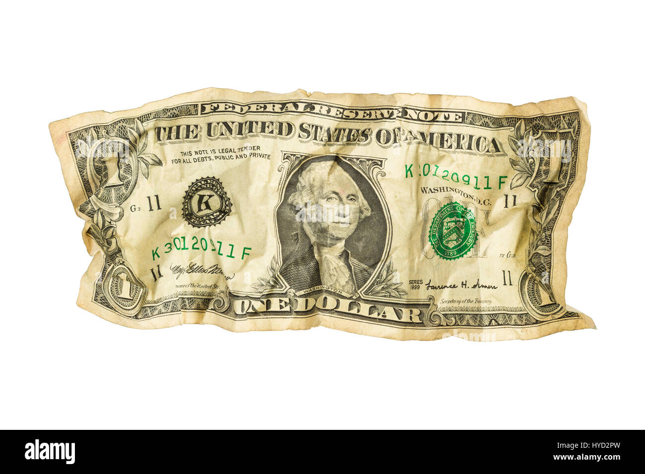 Crumpled One Dollar Bill Stock Photo