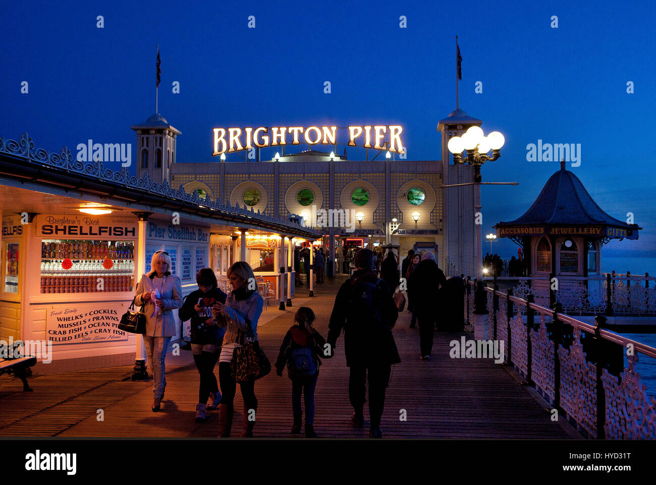 Brighton Pier at night - Stock Image