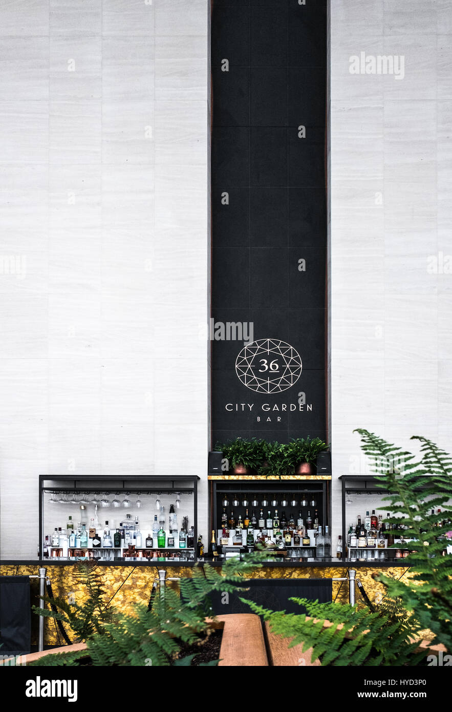 The '36 City Garden bar' of the Sky Gardens at the Walkie-Talkie building, 20 Fenchurch Street, City of - Stock Image