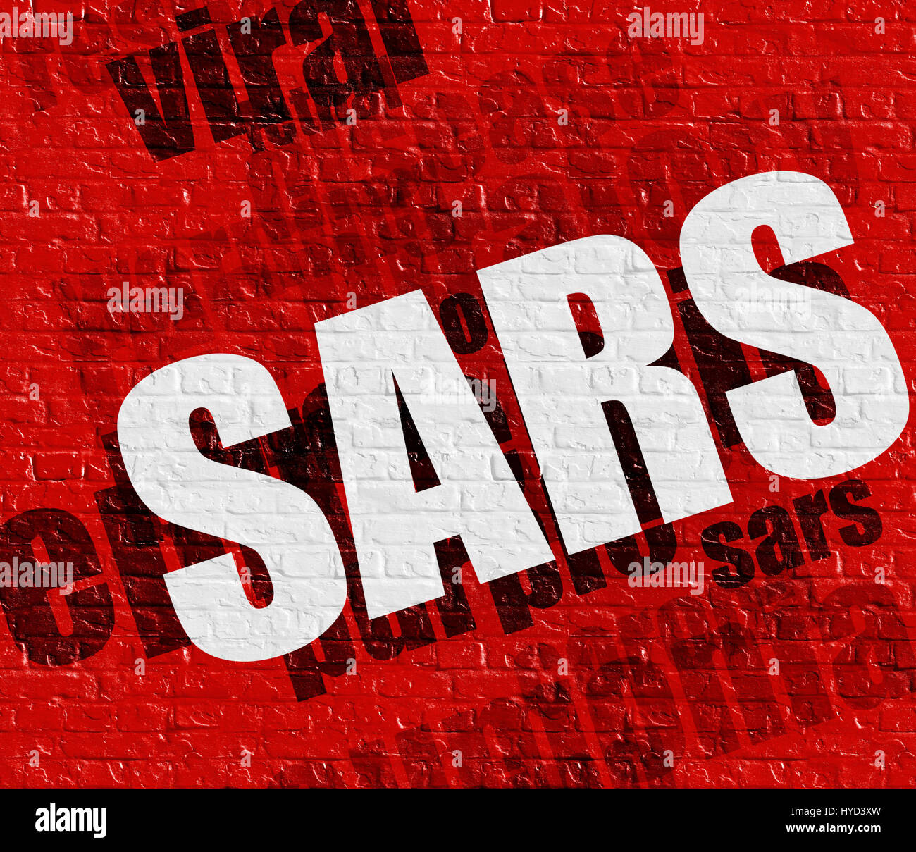 Medicine concept: SARS on Red Wall . - Stock Image