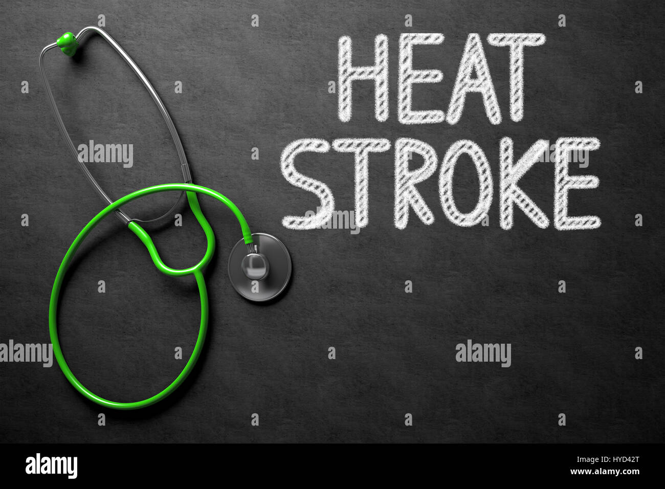 Heat Stroke Concept on Chalkboard. 3D Illustration. - Stock Image