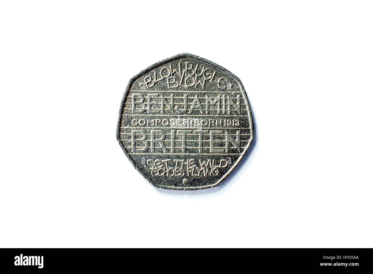 Unusual celebration 50 pence UK coin - Stock Image