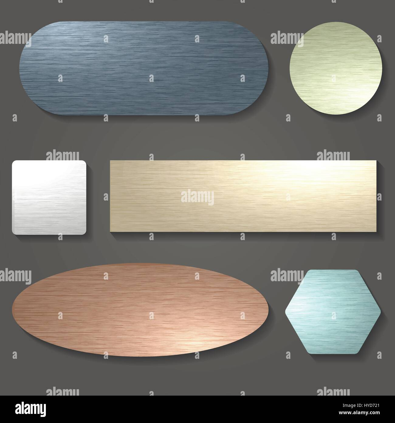 Brushed metal textures set. Brushed surfaces in various shapes.Vector illustration - Stock Vector