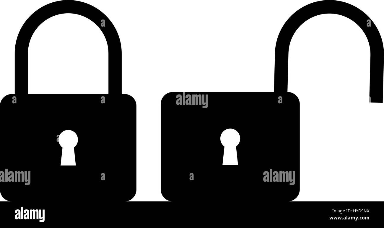 Locked and unlocked padlock icon, padlock icon - Stock Image