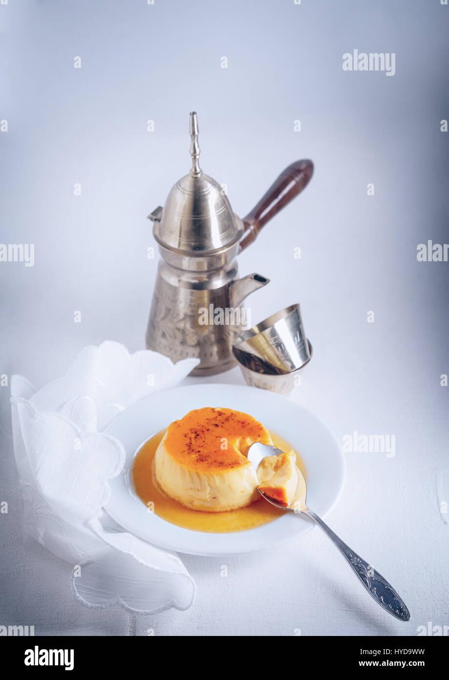 Homemade Creme Caramel - Stock Image