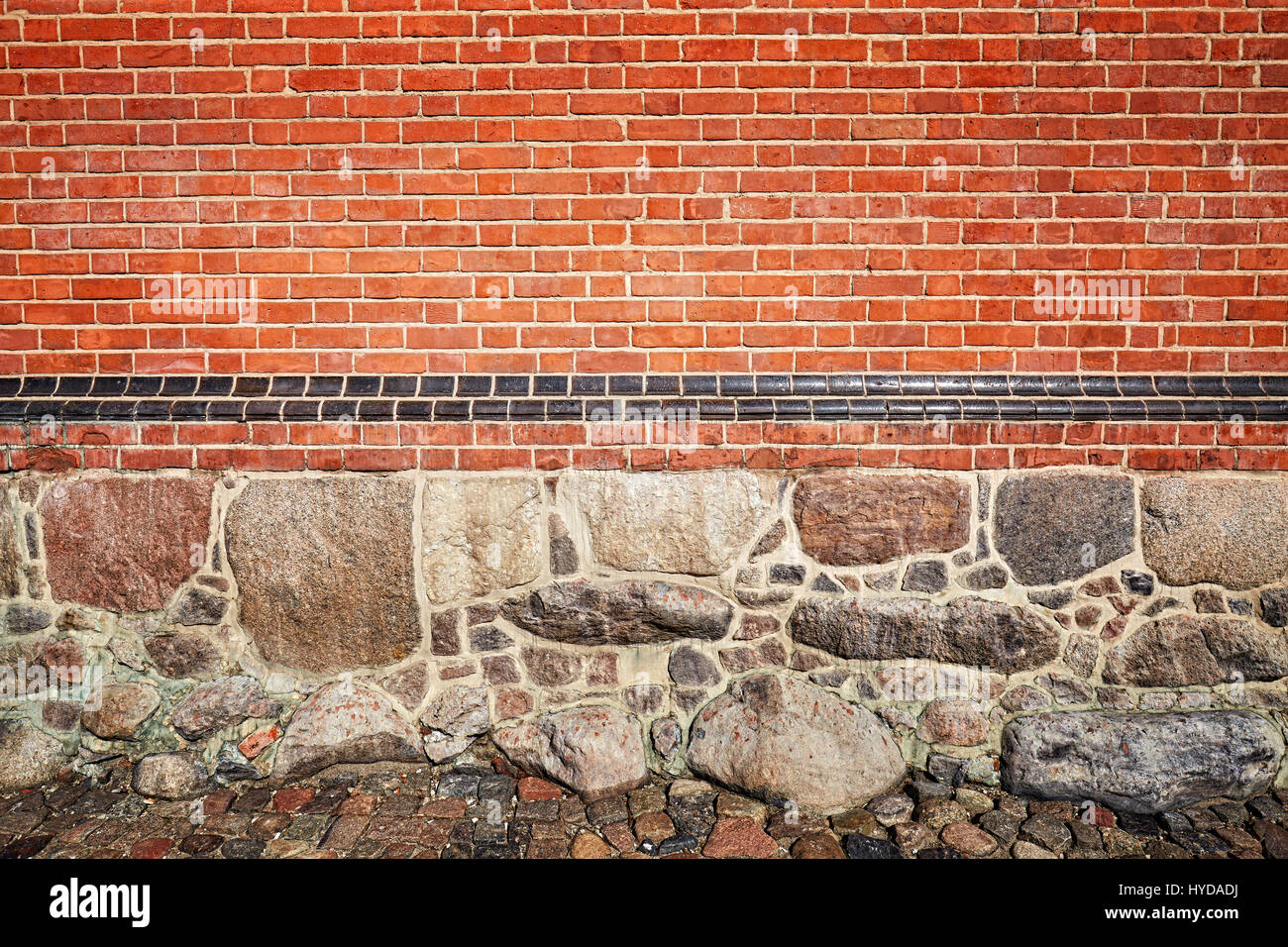 Picture of stone and brick wall, texture or background. - Stock Image