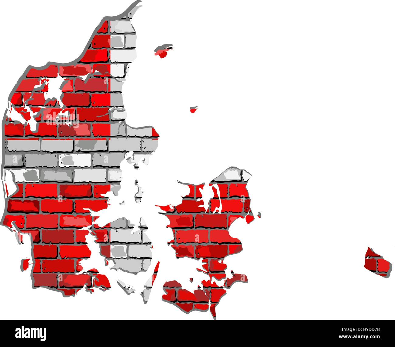 Denmark map on a brick wall - Illustration,  Map of the Denmark with flag inside,  Danish map on a brick wall - Stock Image