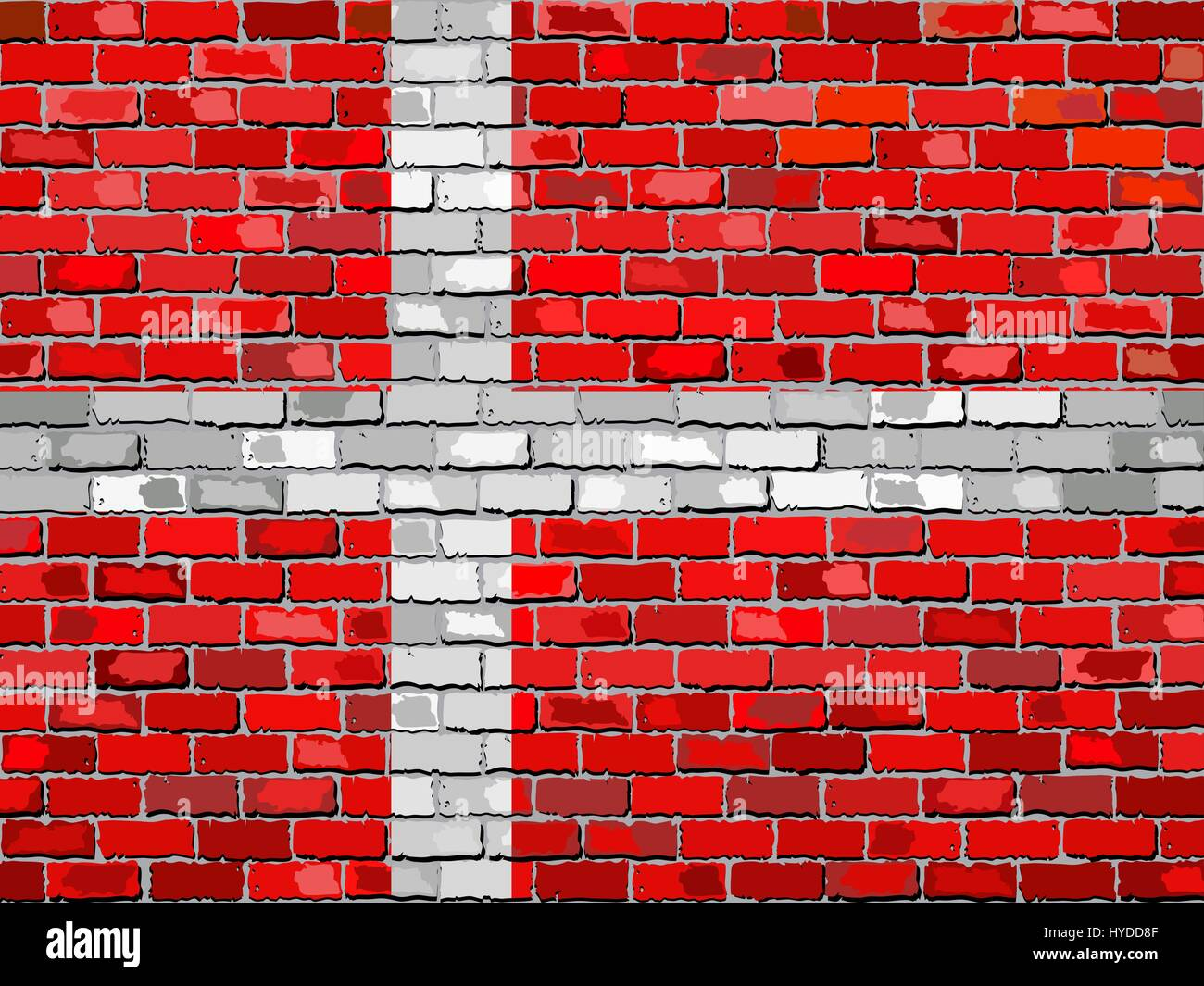 Flag of Denmark on a brick wall - Illustration,  Danish flag on brick textured background,  Abstract grunge mosaic - Stock Image