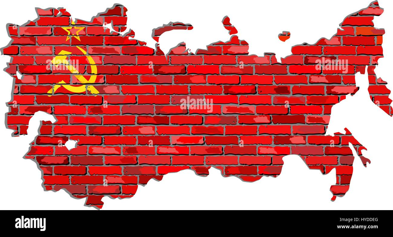 Soviet Union map on a brick wall - Illustration,   USSR map with flag inside,  Grunge map and Soviet Union flag - Stock Image