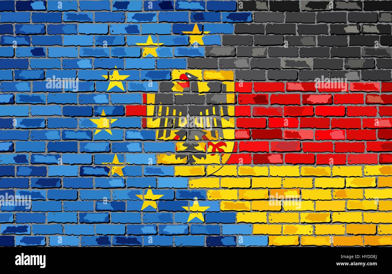 Brick Wall European Union and Germany flags - Illustration, Abstract grunge EU and Deutschland flags - Stock Vector